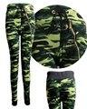 Army green high waist leggings 2016 new women casual Camouflage leggins ankle length ladies slim pants  legging KM1413