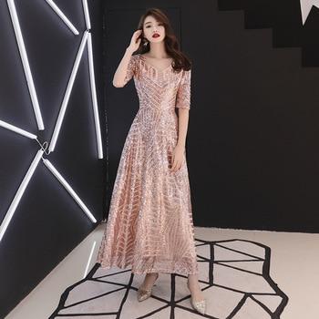 Sequins Chinese Oriental Wedding Female Pink Cheongsam Vintage Evening Dress Elegant Celebrity Banquet Dresses Oversize 3XL