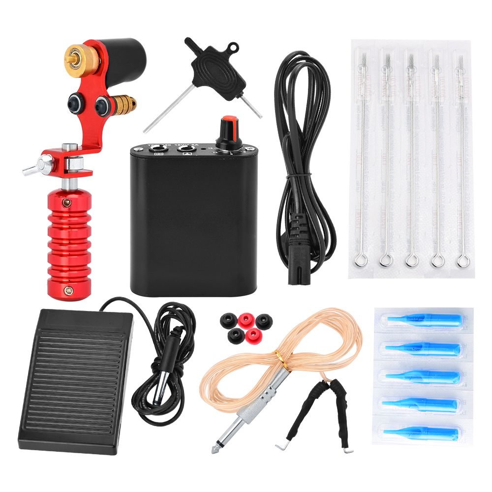 Complete Tattoo Kit Tatuagem Professional Tatoo Machine Set Maquina De Tatuagem Black Power Supply Footswitch Permanent Makeup 1pcs new tattoo permanent makeup pen machine eyebrow tattoo gun professional tattoo maquina de tatuagem professiona tatuagem