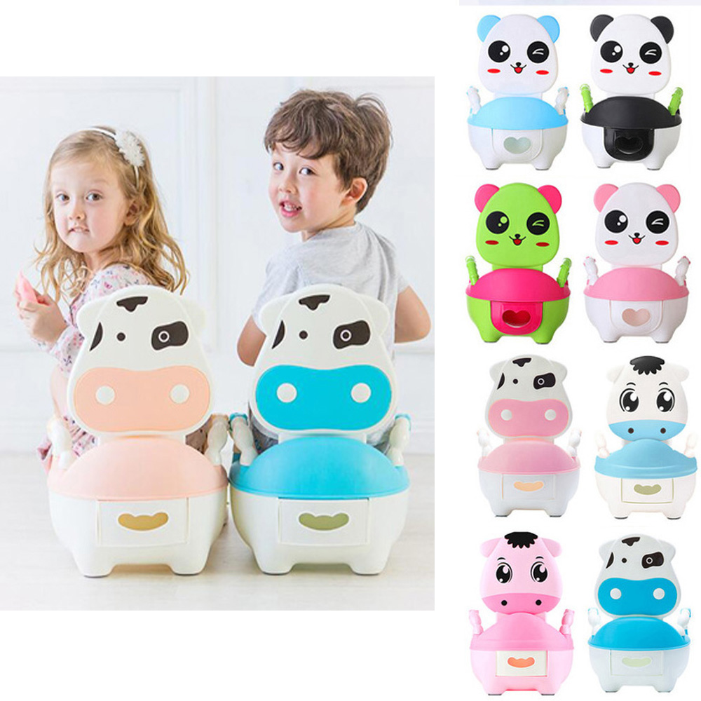 Portable Baby Potty Cute Animal Cow Kids Potty Training Seat Children's Urinals Baby Toilet Bowl Pot Training Pan Toilet Seat