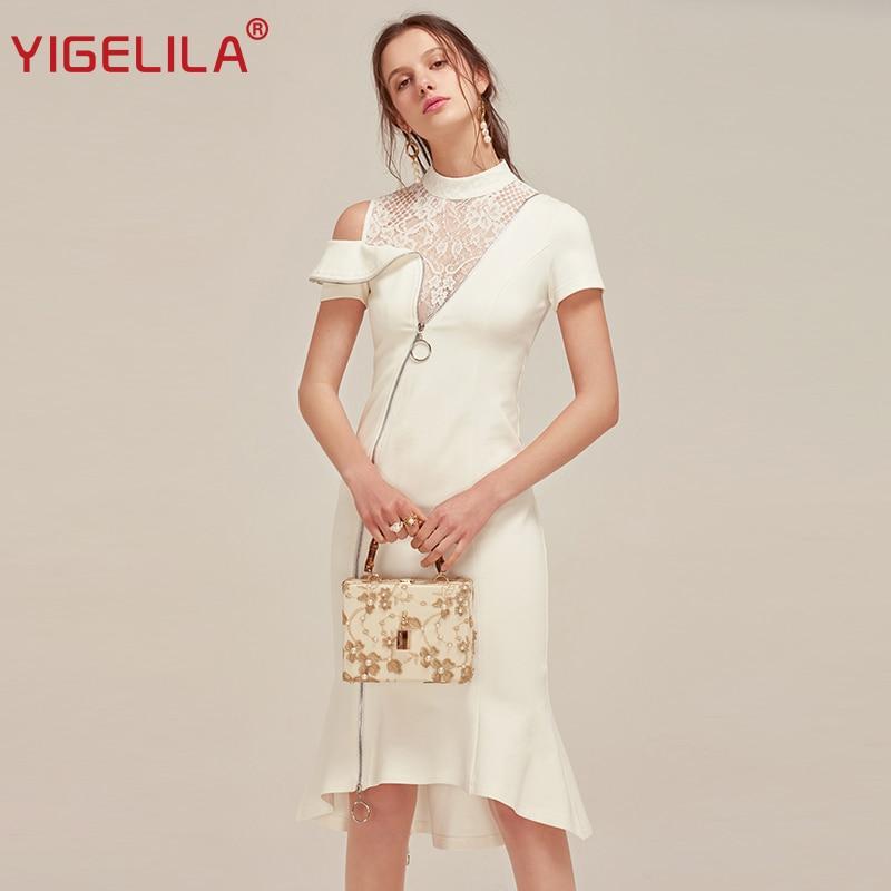 YIGELILA 2018 Latest New Women Summer Dress Elegant Stand Neck Short Sleeve Sheath Lace Patchwork White Mermaid Dress 62392