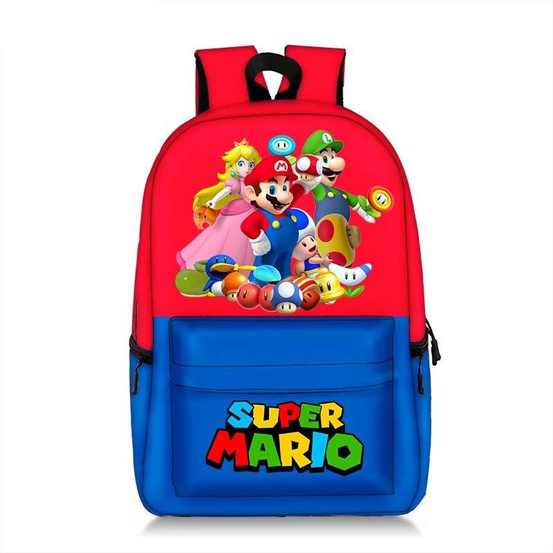 Super 17 Inch Mario Bros Pikachu Backpack Children Kids Bag Beautiful Printing Pattern Mario Sonic Women Capacity Travel Bag