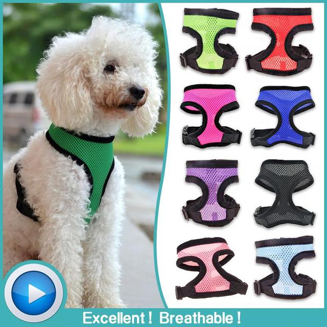 Soft Dog Harness Vest Nylon Solid Mesh Harness Vest For Dog Puppy Colorful Goods For Pets harnais chien Quick Release XS S M Red