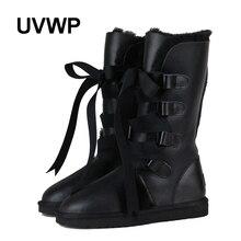 Uvwp высокое качество Водонепроницаемый классические зимние ботинки из натуральной овечьей кожи с натуральным мехом женские ботинки модные теплые зимние ботинки