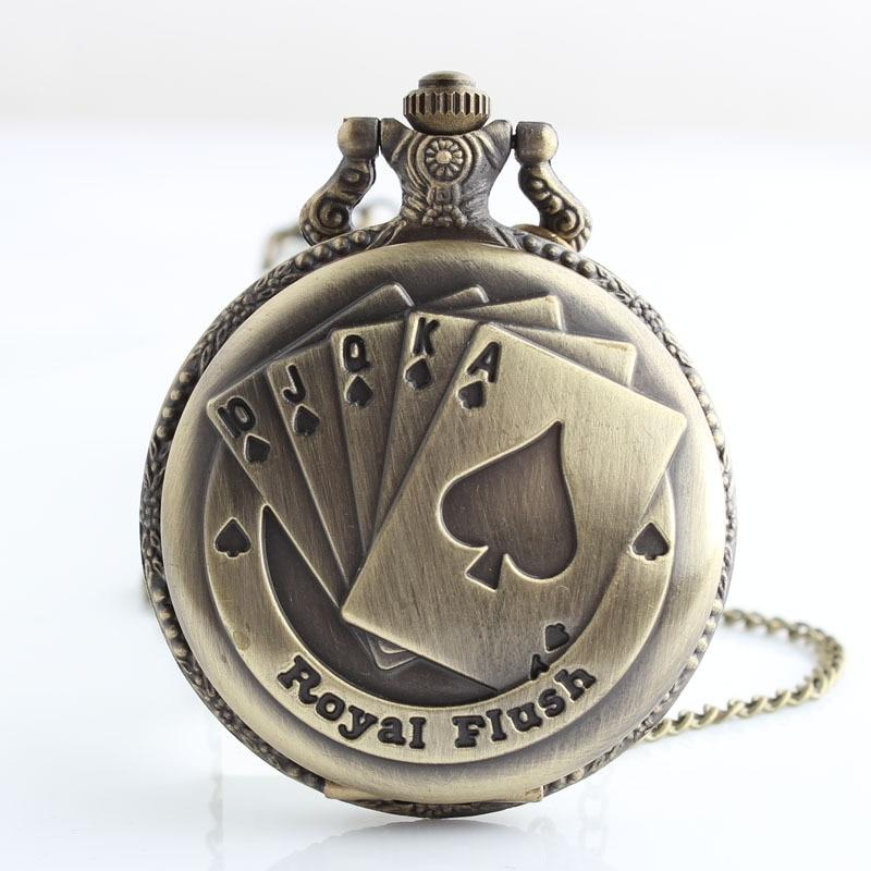 L'orologio da tasca del quarzo della fiammata del poker reale FOB guarda la collana del pendente degli uomini delle donne con la catena che spedice liberamente