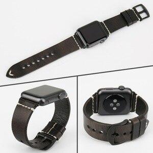 Image 4 - MAIKES Neue Ankunft Echtem Leder iWatch 44mm 40mm Uhr Band Für Apple Uhr Strap 42mm 38mm serie 4/3/2/1 Armband Armband