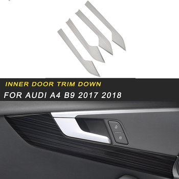 Brushed stainless steel inner door trim down frame trim cover accessories Sticker For Audi A4 B9 2017 2018 of the Auto Car