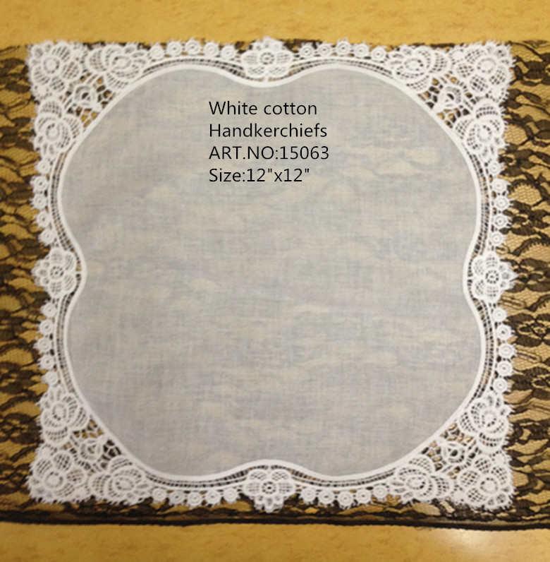 """Pañuelos de mujer de moda 12 unids/lote 12x12 """"blanco 100% algodón boda pañuelo bordado bordes de encaje pañuelos para ocasiones"""