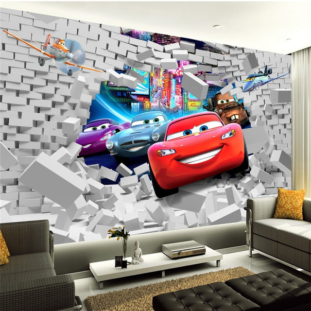 beibehang  custom photo wallpaper-3d Car cartoon boys and girls for living room children's room bedroom 3d wall mural wallpaper