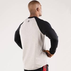 Image 4 - 春の新メンズ綿のスウェットプルオーバーカジュアルファッションパッチワークパーカージムフィットネスワークアウトトップス男性スポーツウェア服