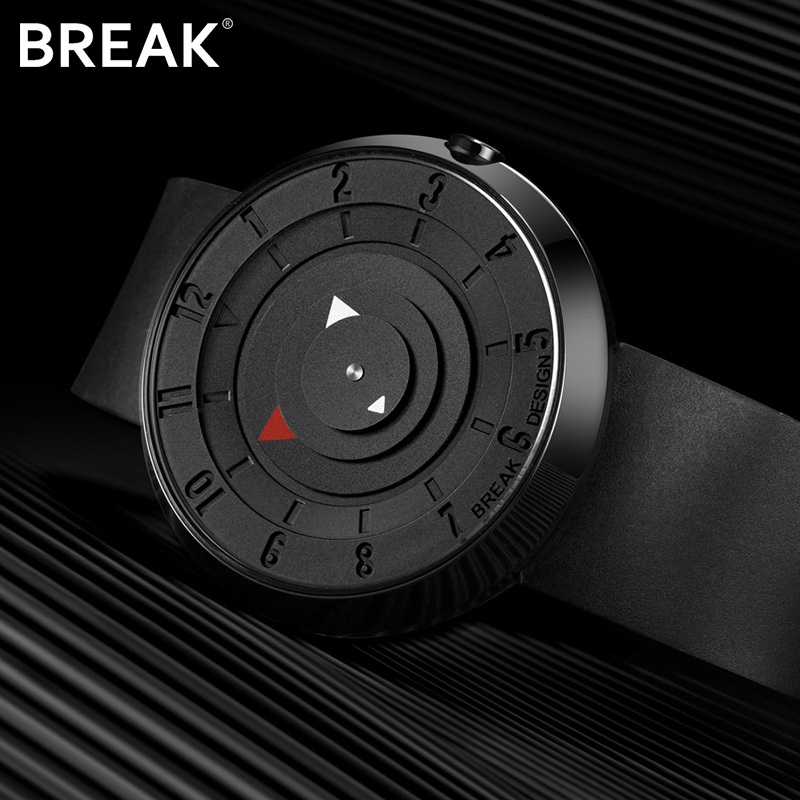 BREAK Men Unisex Creative Fashion Casual Classic Rubber Band Sport Waterproof Quartz Watch Gift For Women  Black Wristwatches