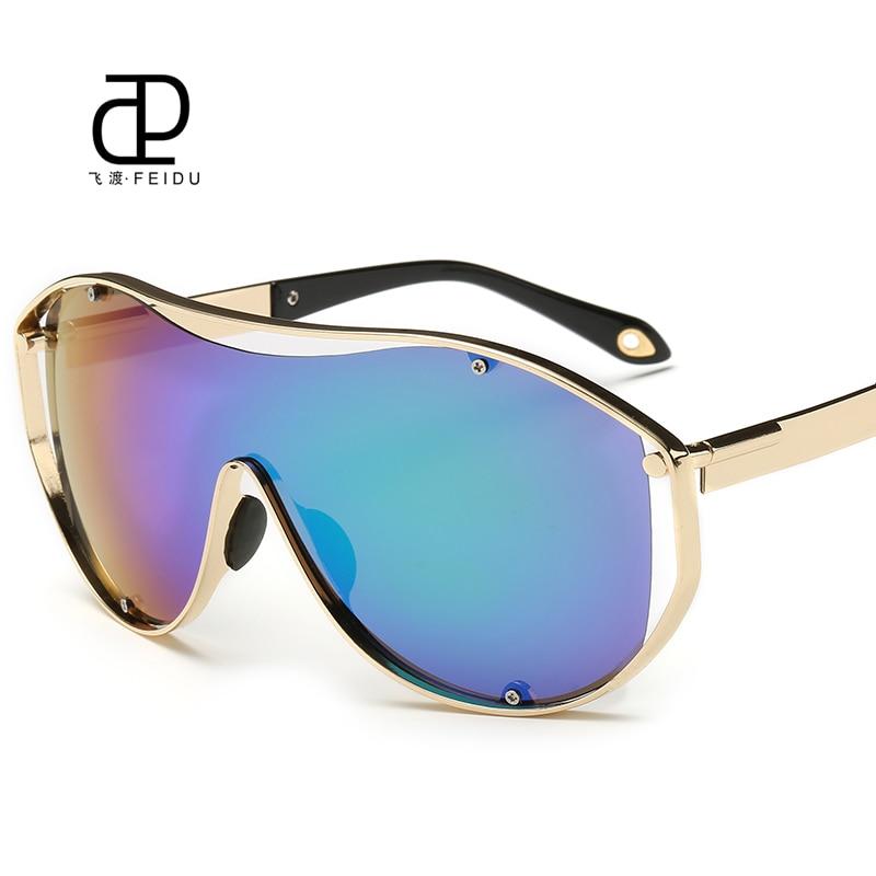 FEIDU 2016 Fashion Integrated Goggle Sunglasses Men Women Metal Sport Coating Mirror Sun Glasses For Women Driving Oculos De Sol