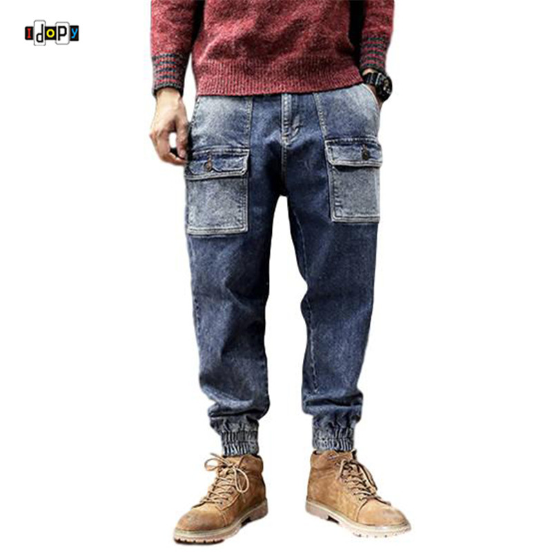 Idopy Trousers Joggers Cuffed Jeans Cargo Denim-Pants Loose Hi-Street-Style Plus-Size