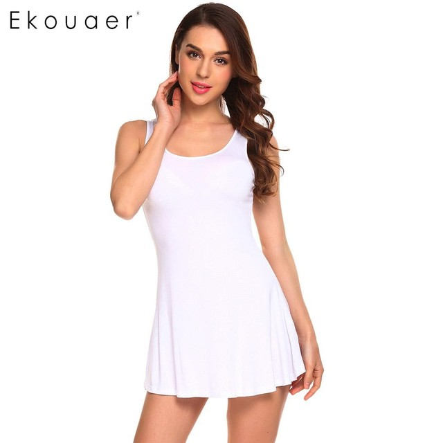 Ekouaer Women Casual O-Neck Sleeveless Lace Patchwork Regular Fit Sexy Vest Tops Dress