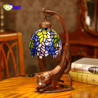 FUMAT szklana lampa stołowa w antycznym stylu Retro witraż klosz szklany lampa stołowa do salonu sypialnia lampka nocna w Lampy stołowe od Lampy i oświetlenie na