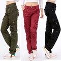 Mujeres pantalones cargo ocasional de 2016 del otoño del resorte pantalones largos más el tamaño 28-38 damas pantalones de múltiples bolsillos KM1577