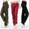 Women casual cargo pants 2016 spring autumn long trousers plus size 28-38 multi pockets ladies   long pants KM1577