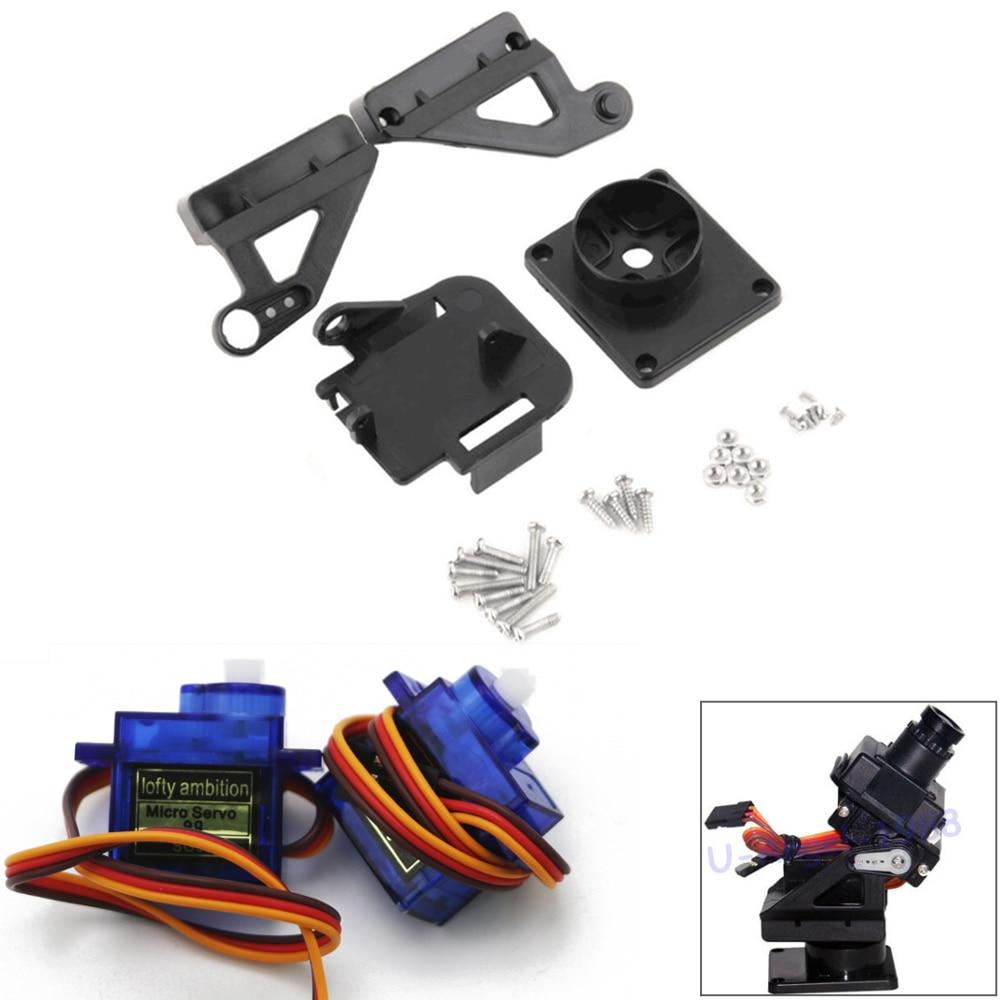 Micro servomoteur LA SG90 9G + 1 Micro servomoteur FPV dédié en Nylon PTZ pour Kit Arduino
