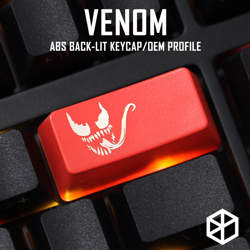 Novelty Shine Through Keycaps ABS Etched, Shine-Through Venom Superhero Black Red Custom Mechanical Keyboard Backspace