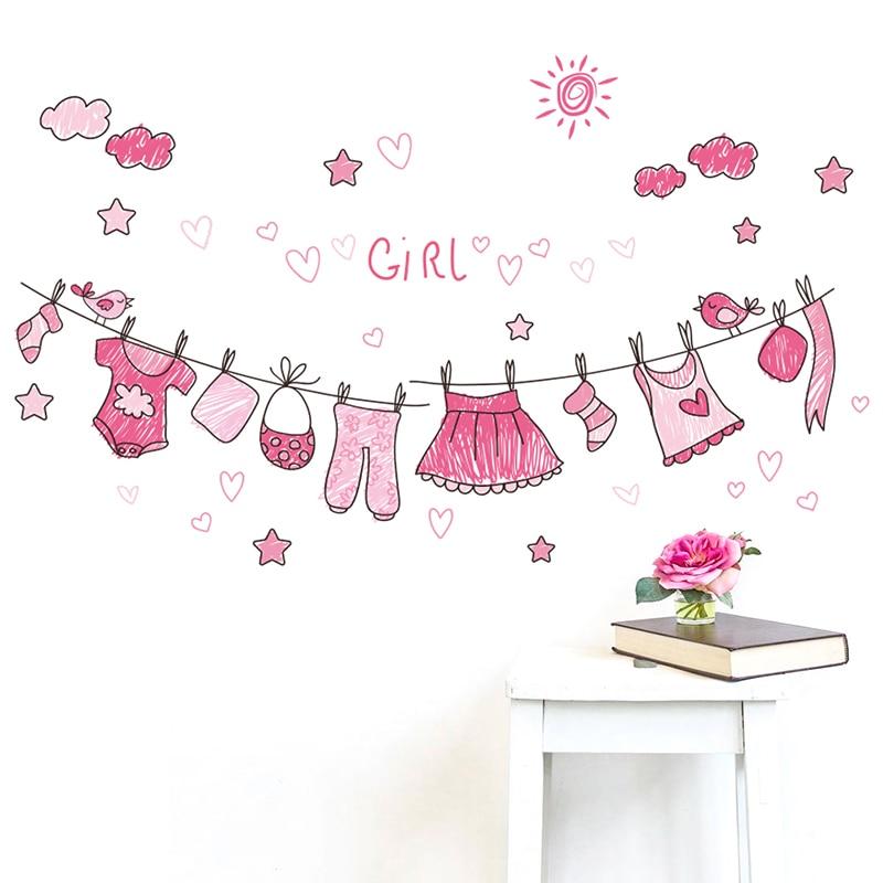 & Sunny Roze Kleren Muurstickers Voor Kinderen Kamers Slaapkamer Home Decor Woonkamer Meisjes Geschenken Pvc Muur Stickers Diy Muurschilderingen Poste Bekwame Vervaardiging