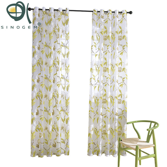 Kitchen Curtains For Sale Custom Rugs Sinogem Flowers Birds Tulle Window Curtain Living Room Bedroom Printed Sheer Voile
