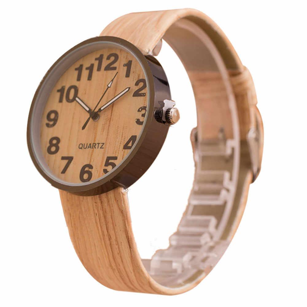 עור בצבע עץ בסגנון קוורץ שעונים לנשים להתלבש שעוני יד גברים שעונים
