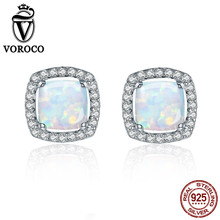 VOROCO 2017 Genuine 925 Sterling Silver Platinum Plated Square Opal Stone Earrings for Women Wedding Gift Fine Jewelry VSE039