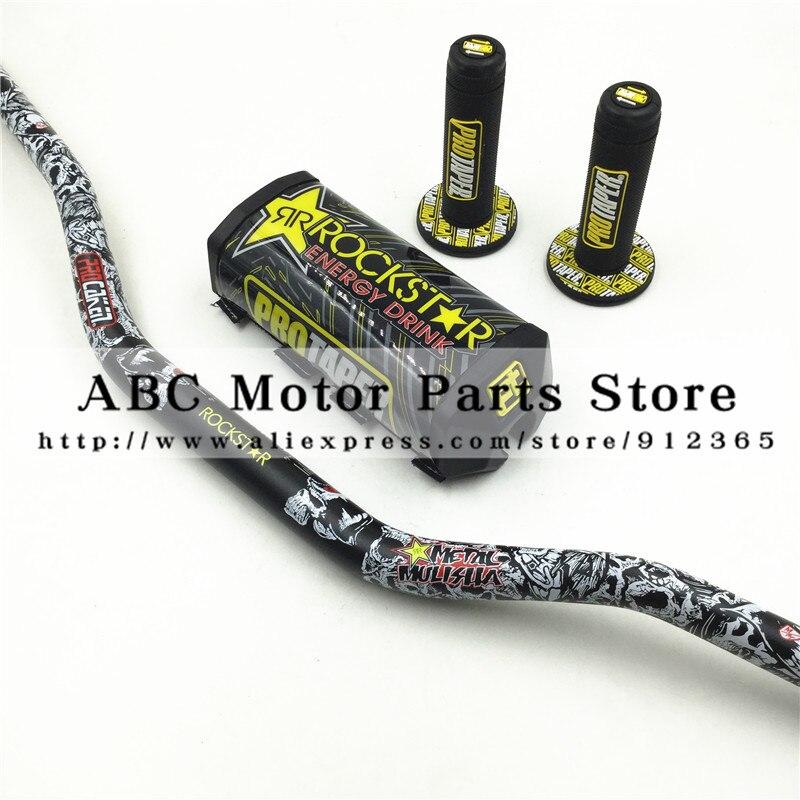 Rockstar Handlebar Pads PRO Taper Handle Grips Metal Mulisha Pack Fat Bar 1-1/8