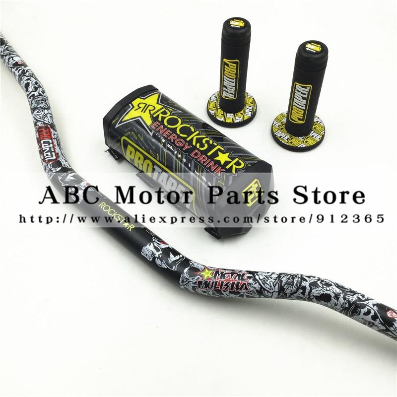Rockstar Handlebar Pads PRO Taper Handle Grips Metal Mulisha Pack Fat Bar 1-1/8 Pit Bike Motocross Motorcycle Handlebar 810mm