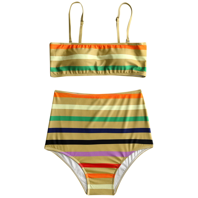 c22e0dbe7f ZAFUL 2018 New Women Swimsuit Stripe High Waist Bikini Set High Waisted  Bandeau Cami Strap Swimwear Women Padded Bathing Suit