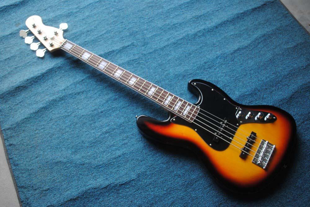 active pickups string through body 5 string jazz bass guitar guitarra sunburst color chrome. Black Bedroom Furniture Sets. Home Design Ideas