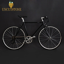 52cm vintage 7 speeds road bike frame black 700C City street Fixed Gear Track Single speed Bike fixie