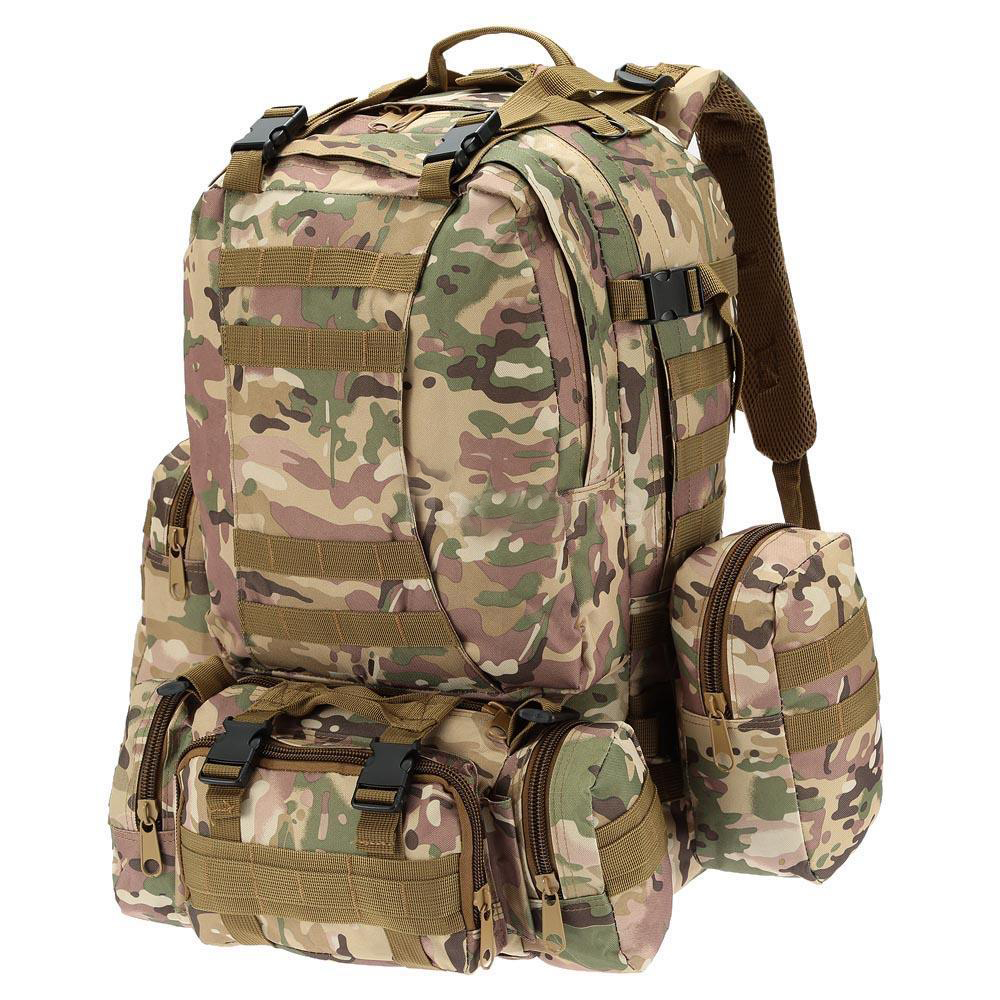 55L Outdoor Army Bag Camping Hiking Trekking Backpack Camo 3P CP color outdoor camping hiking survival water filtration purifier drinking pip straw army green