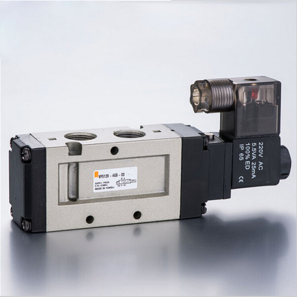 3/8 VF 3 position 5 way pilot-operated type Single solenoid lead wire 300mm loking type B pneumatic solenoid valve coil 220V 5 way pilot solenoid valve sy7320 5d m5