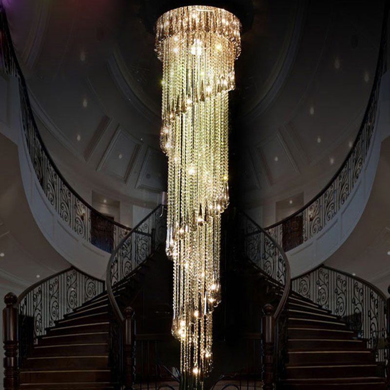 ZX Modern Crystal Spiral Staircase Large Chandelier LED Villa Stair Droplight Compound Rotate Stairs Living Room Pendant Lamp chinese style simple led long block crystal villa staircase pendant lamp revolving double staircase living room lighting pendant