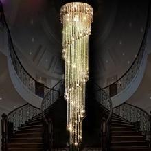 ZX Современные хрустальные винтовая лестница большой люстра привело вилла лестницы Droplight соединения повернуть Лестницы Гостиная подвесной светильник