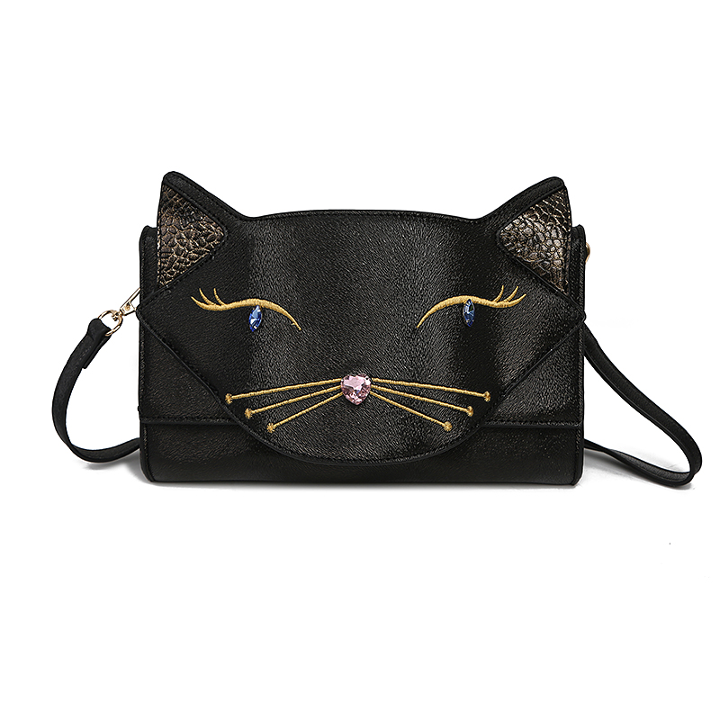 Cute Cat Face Women Bags Shoulder Bag Cross Body Bags Lady PU Leather Handbags Acrylic Embroidery Party Clutches Evening Purses
