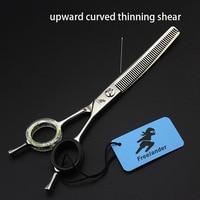 6.5inch Teeth Pet Dog Curved Thinning Scissors Professional Shears Dog Grooming Pet Hair Cut Scissors Shark Dense Teeth
