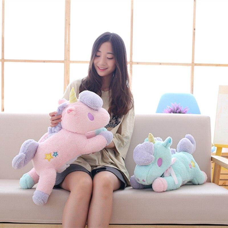 55cm Cute pink/blue stuffed PP Cotton Horse plush toys Stuffed Animals Unicorn Horse clo ...