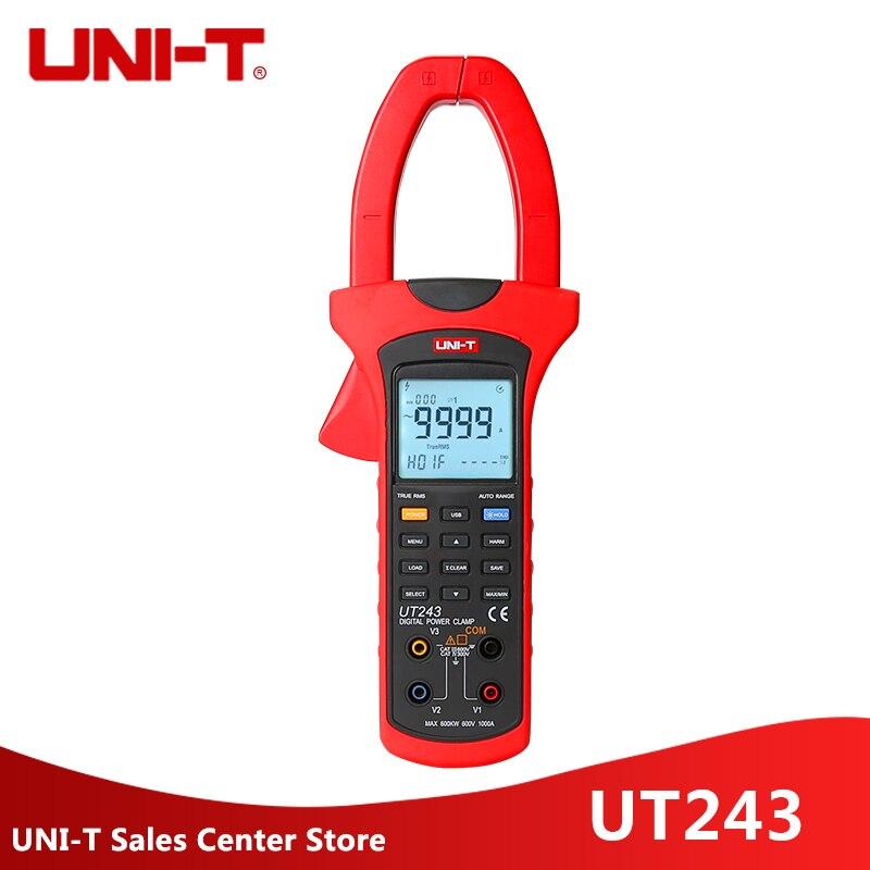 UNI-T UT243 Power and Harmonics Clamp Meters MULTIMETER 3 Phase 600V 1000 UT-243 In Stock uni t ut243 true rms harmonic analysis clamp multimeter 3 phase 600v 1000a