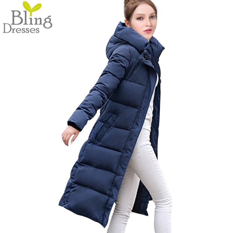 12 Colors Winter 2016 Fashion Womens Cotton Padded Jacket Slim Stars Pattern Printed Parka Warm Long Section Hooded Overcoat