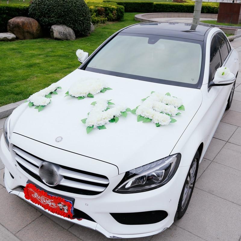 Altar Wedding Cars Timperley: Artificial Flowers Wedding Car Decoration Wedding Pompoms