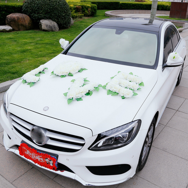 Diy car decorations wedding images wedding decoration ideas artificial flowers wedding car decoration wedding pompoms silk junglespirit Choice Image