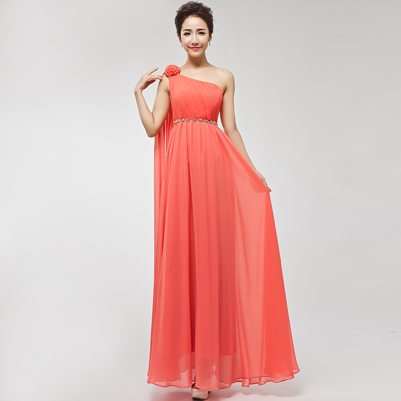 Popular One Shoulder Long Coral Bridesmaid Dresses-Buy Cheap One ...