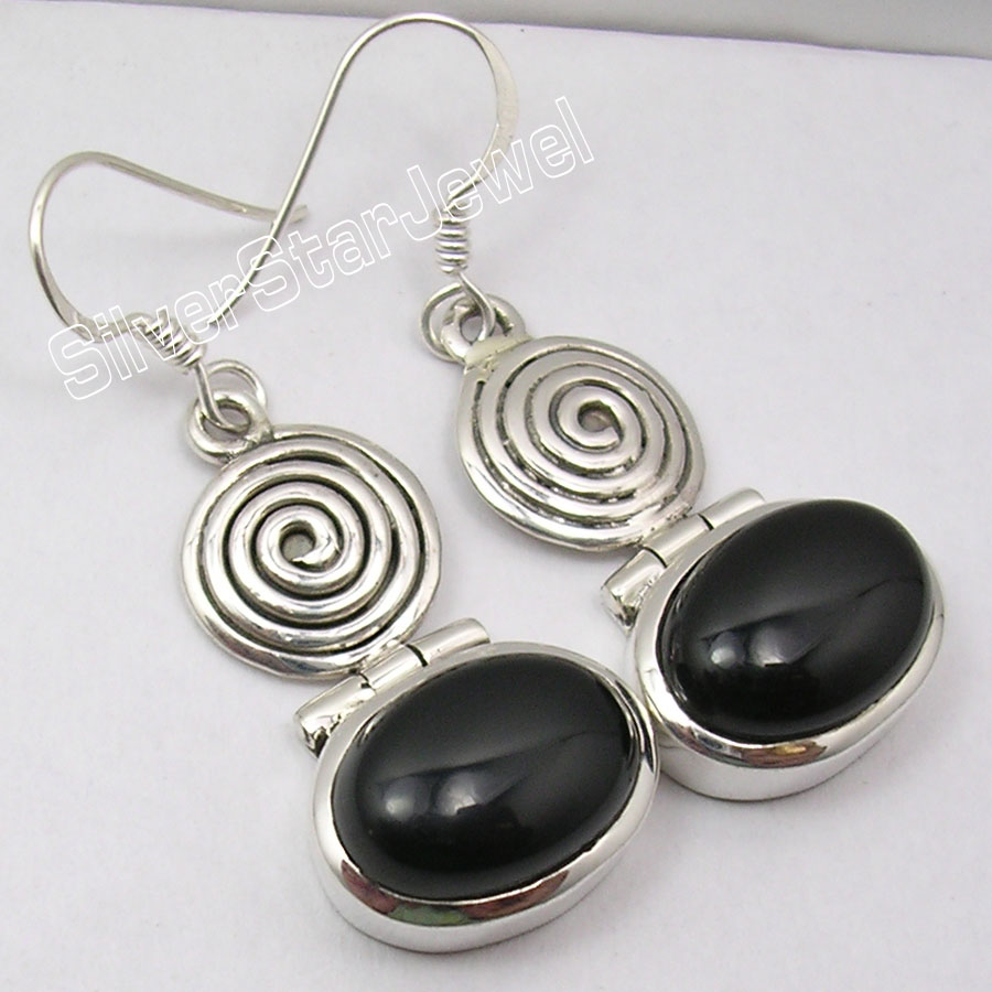 Chanti International Silver CABOCHON BLACK ONYX VINTAGE STYLE SPIRAL Earrings 4.2 CM NEW