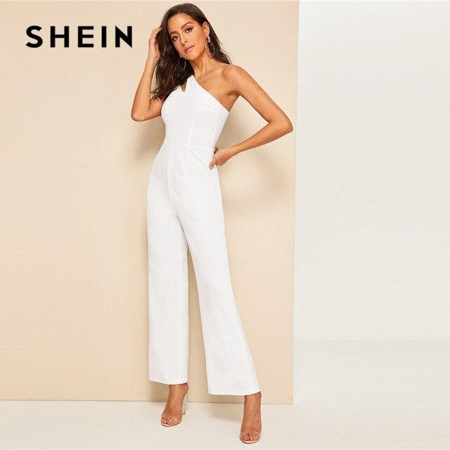 SHEIN Glamorous Double Strappy One Shoulder Wide Leg Jumpsuit Women Elegant White Jumpsuit Sleeveless High Waist Summer Jumpsuit 2