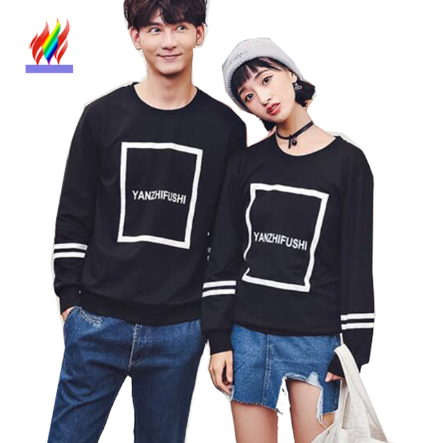 Autumn Winter Sweatshirts Hoodies Lovers Couple Clothes Letter Printed Tops  Pullover Black Korean Matching Couple Hoodies
