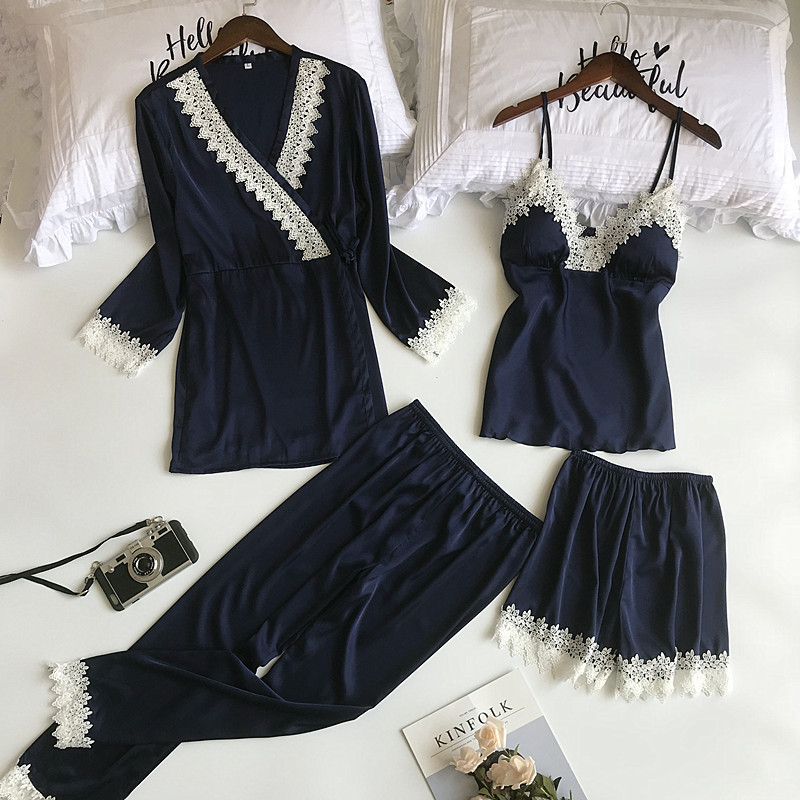 Queenral 4pcs Pajama Sets For Women Sleep Lounge Satin Sleepwear Pijama Spring Home Wear Pyjama With Chest Pads Nightwear Set77