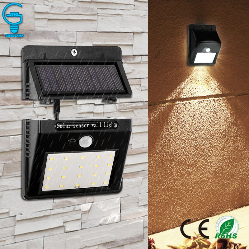 Outdoor Solar Light Separable 20 LED PIR Motion Sensor Activated Solar Lamp Rechargeable Waterproof Security Wall Light