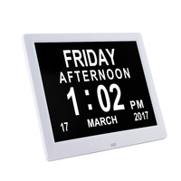 Pinwei Memory Loss Digital Calendar Photo Frame Day Clock Extra Large Non Abbreviated Day & Month Perfect for Seniors Elderly